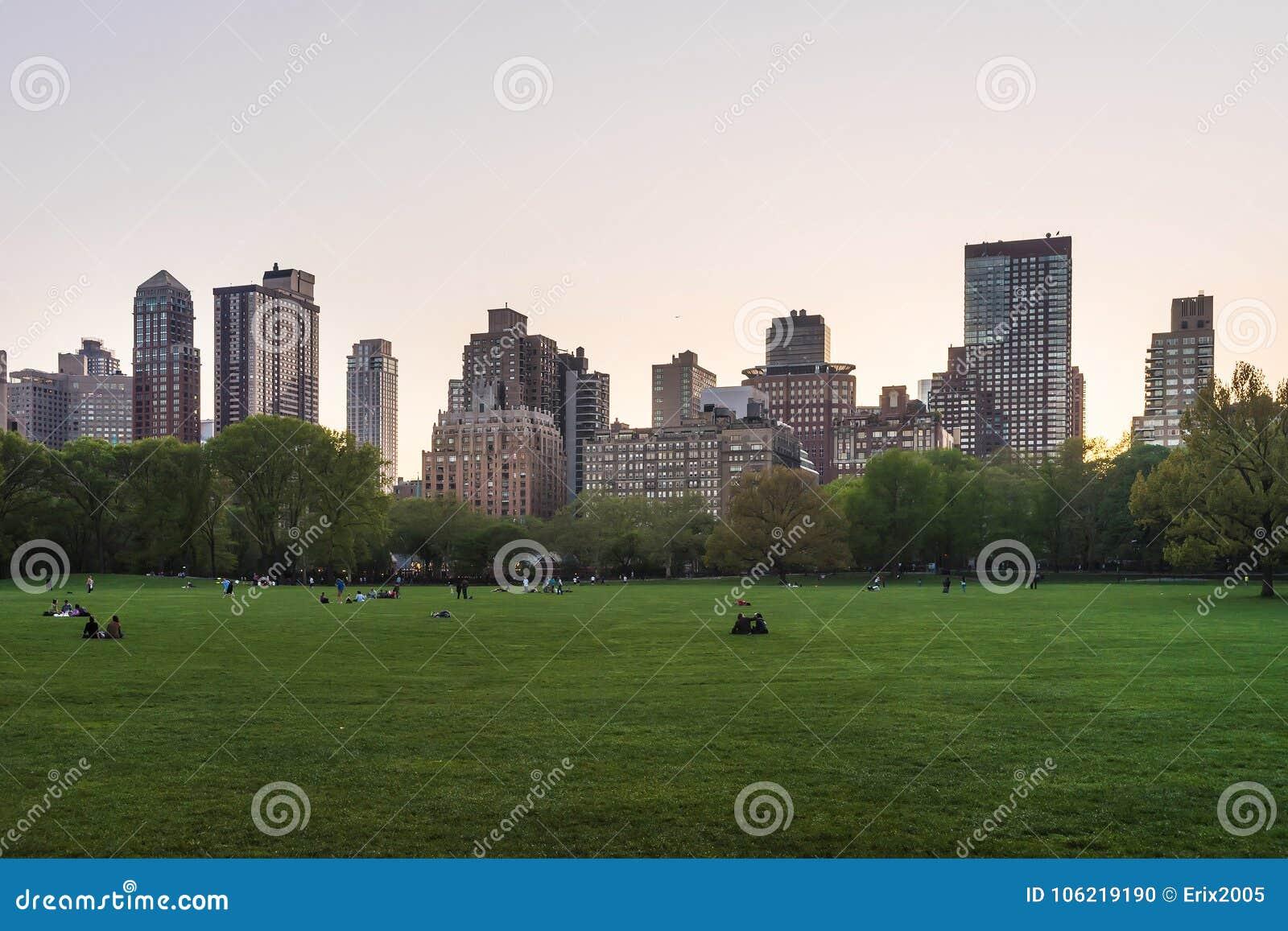 Manhattan y césped verde en el Central Park NYC del oeste