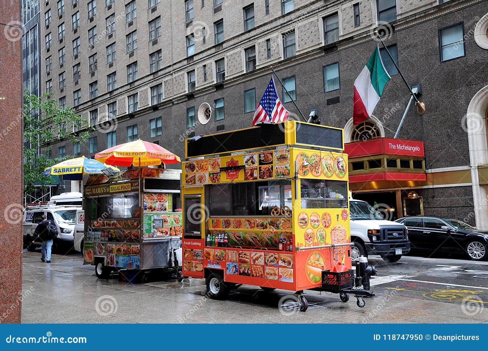 HALAL FOOD VANDOR ON MANHATTAN NYC Editorial Image - Image