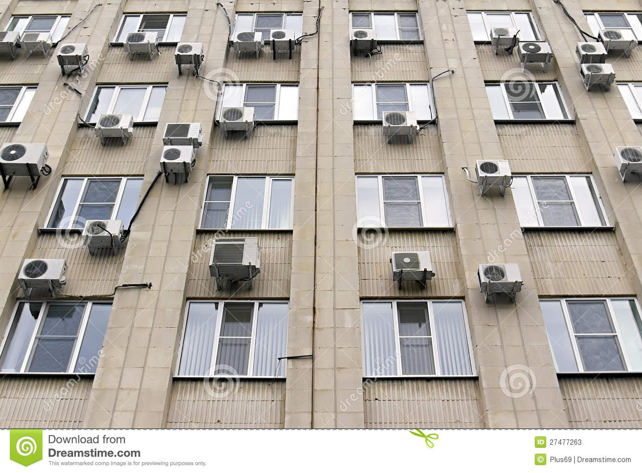 Mani Air Conditioners On The Building Wall Stock Photos