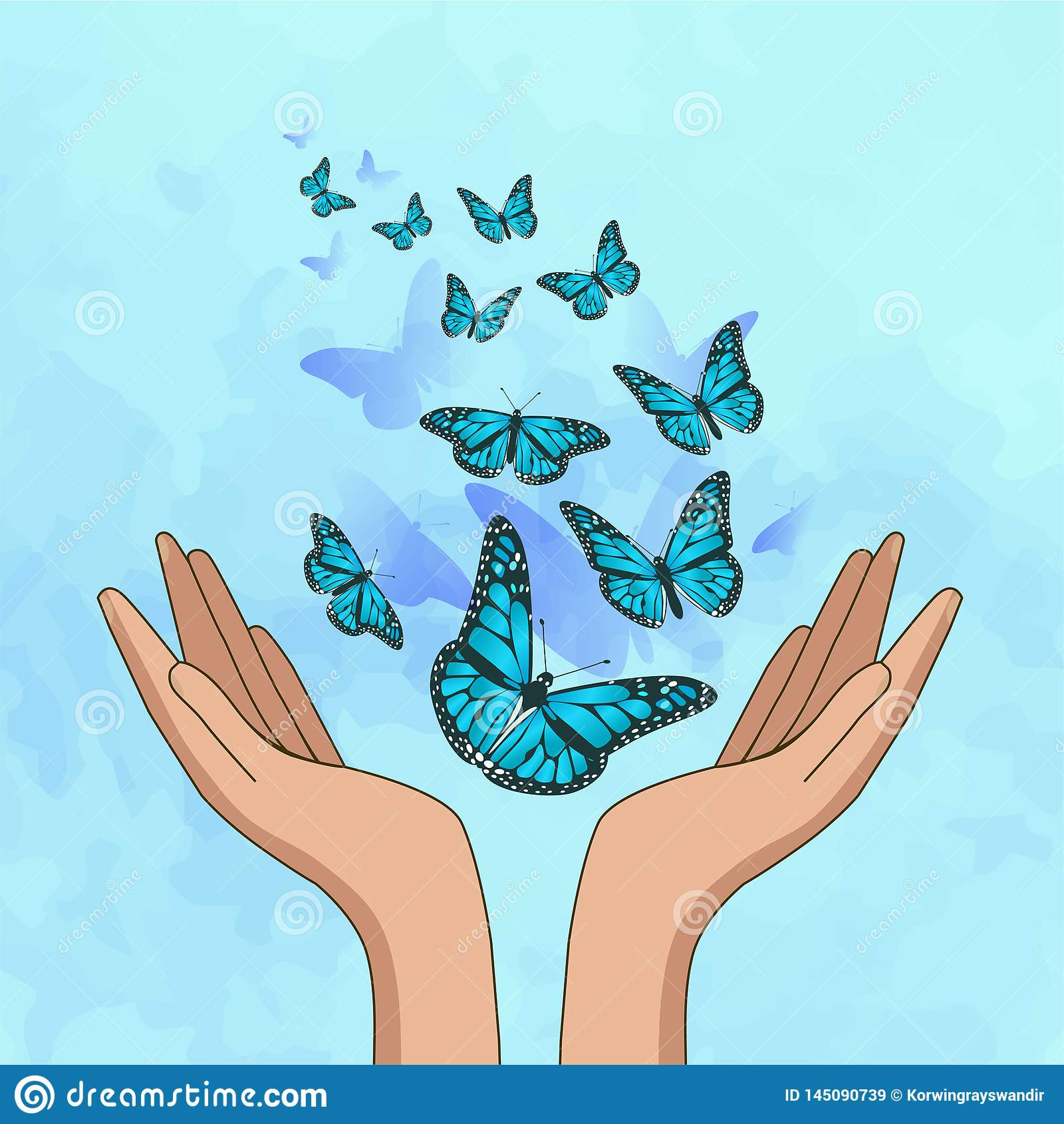 Mani che liberano le farfalle di stupore del turchese Illustrazione di vettore