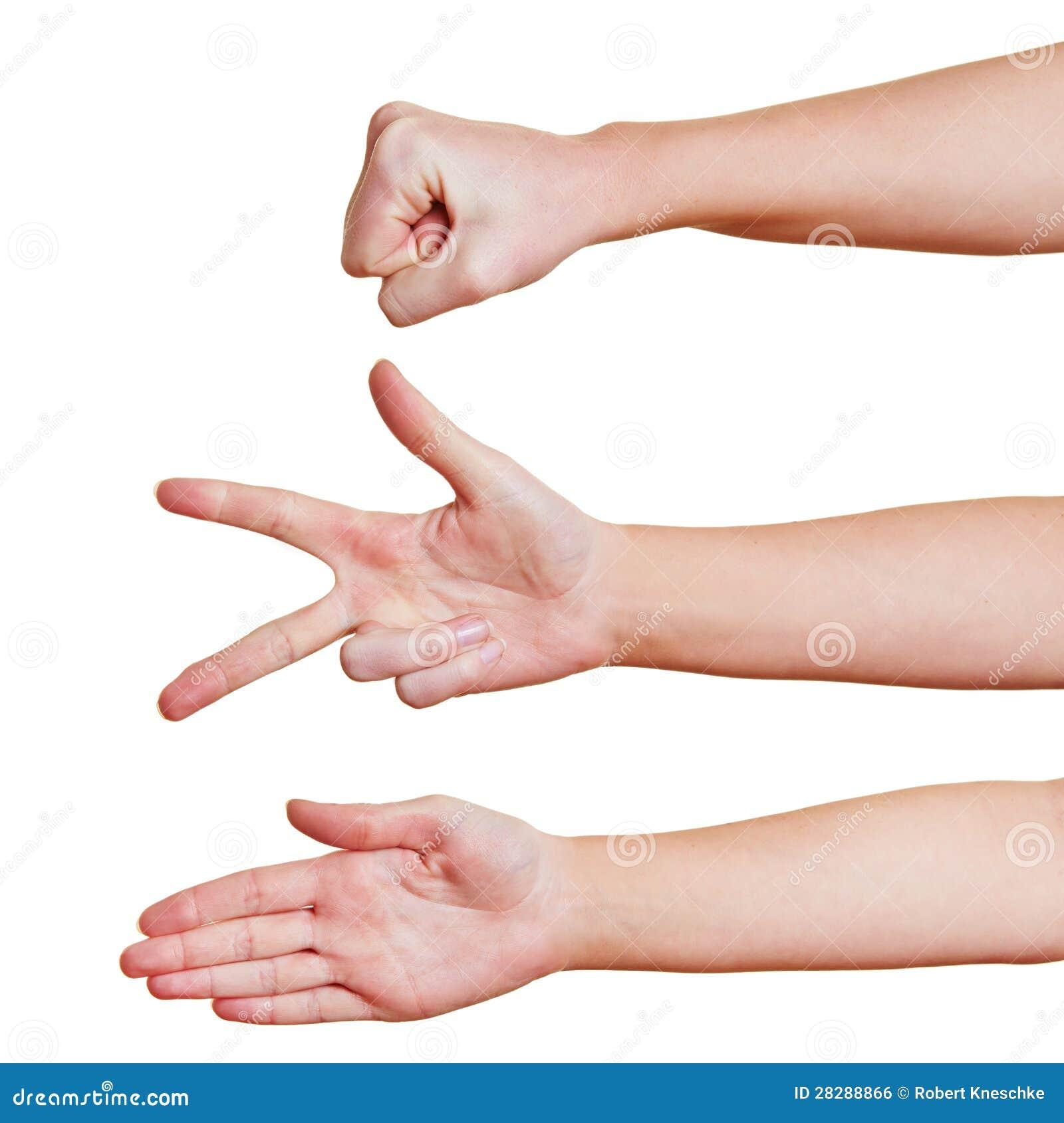 Le mani che mostrano i simboli oscillano le forbici di carta per un