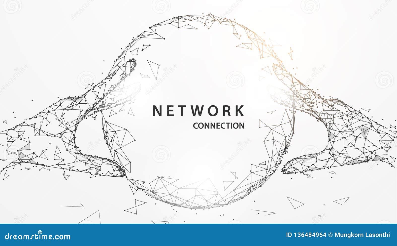 Mani che toccano le linee globali digitali della forma, i triangoli e progettazione di stile della particella vettore dell illust