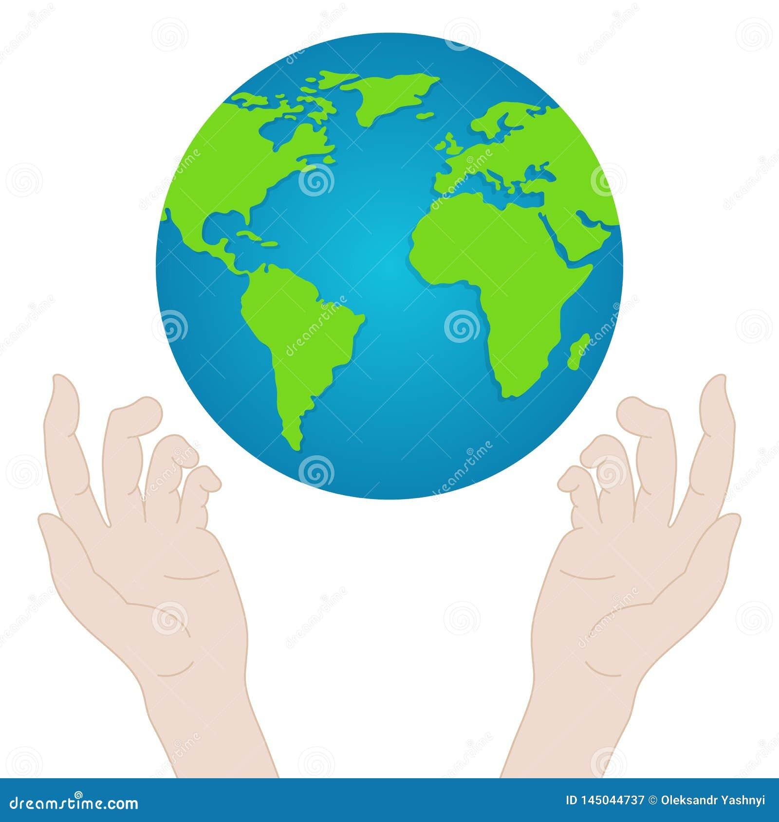 Mani con terra Mani della gente che tengono il globo Concetto di giorno di pace Illustrazione di vettore per la vostra acqua dolc