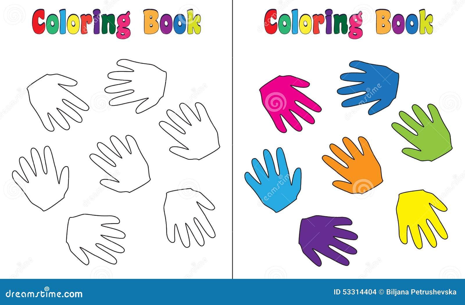 Mani del bambino del libro da colorare illustrazione - Toddler libro da colorare ...