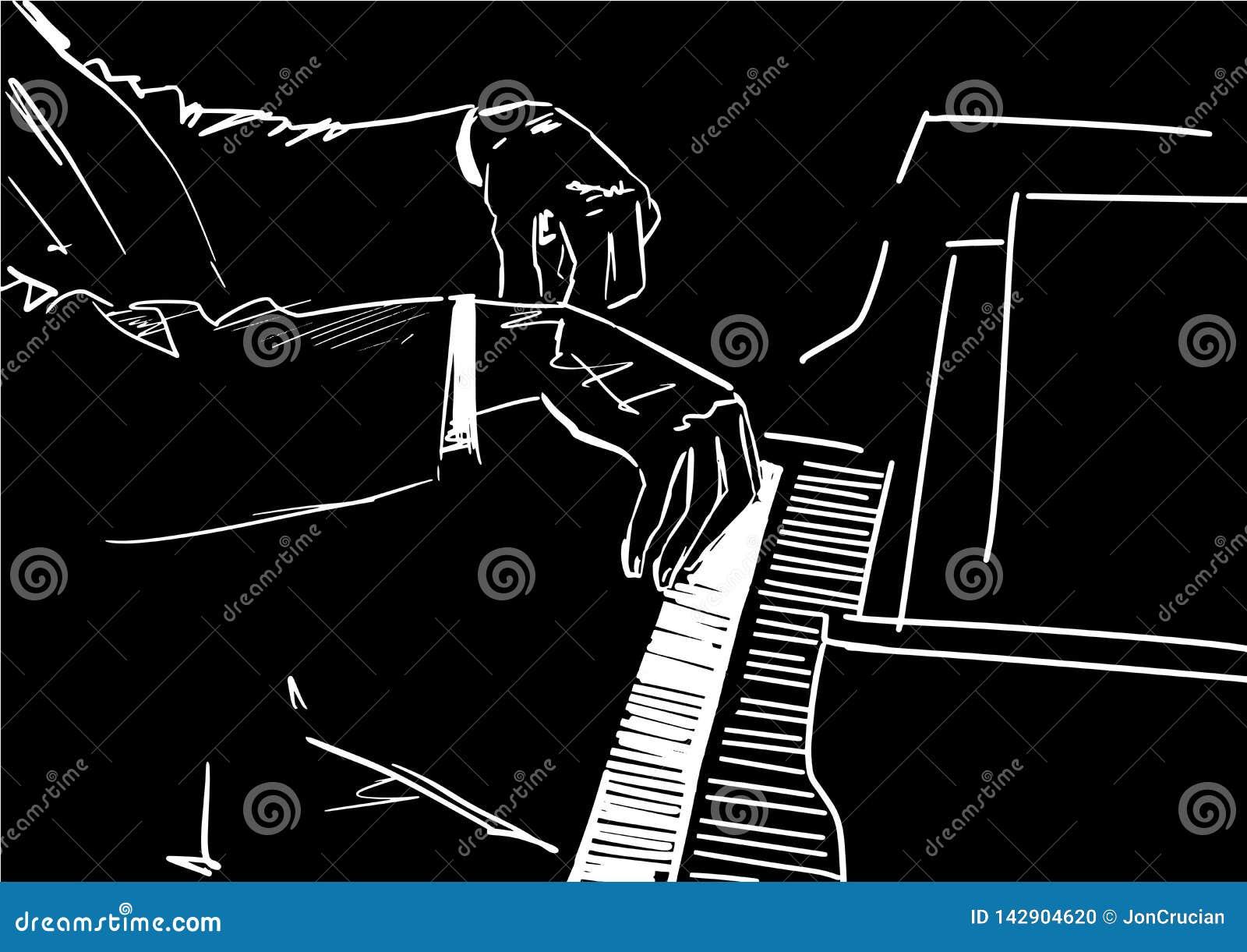 Mani del pianista sulla tastiera di piano