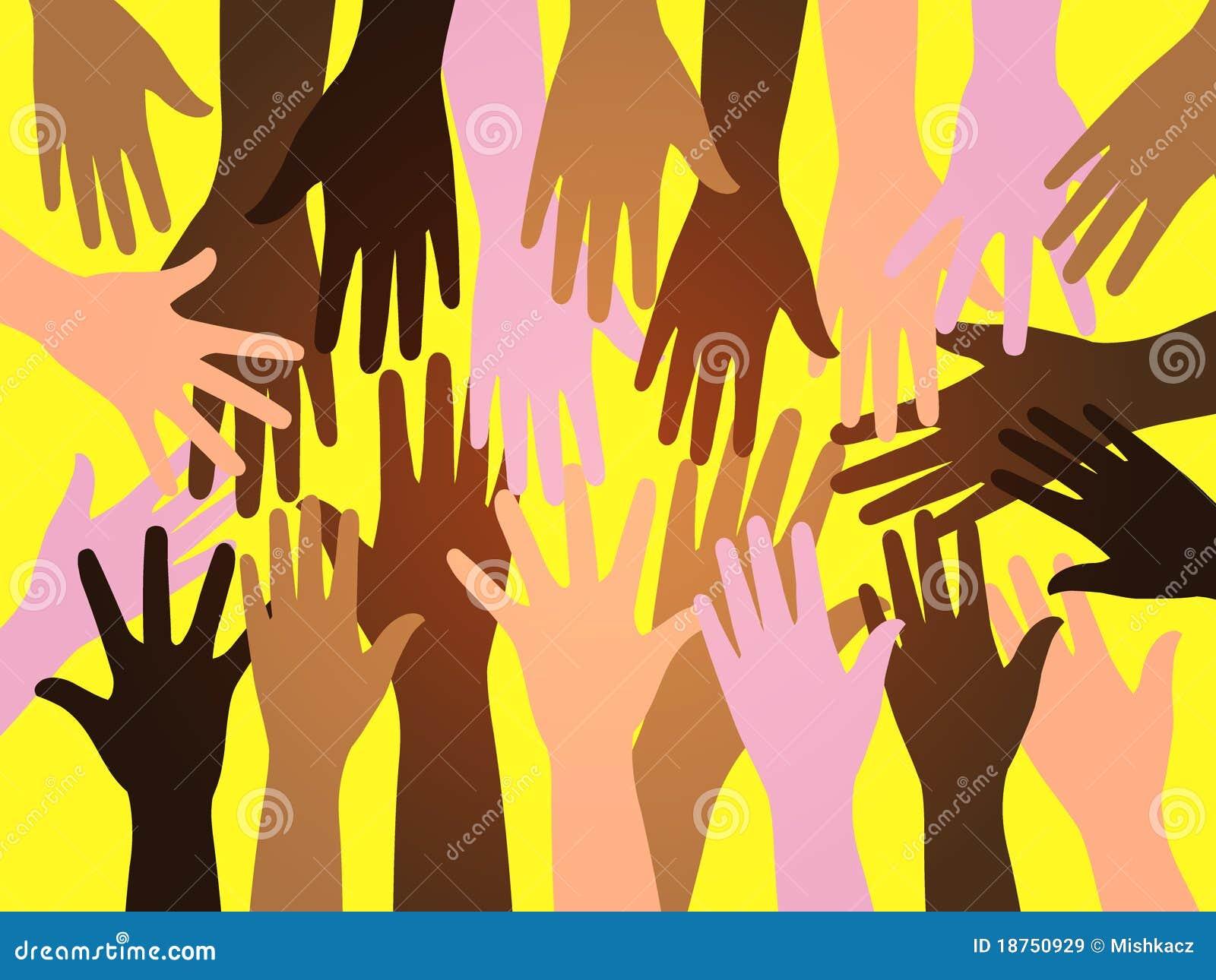 Mani dell essere umano della folla