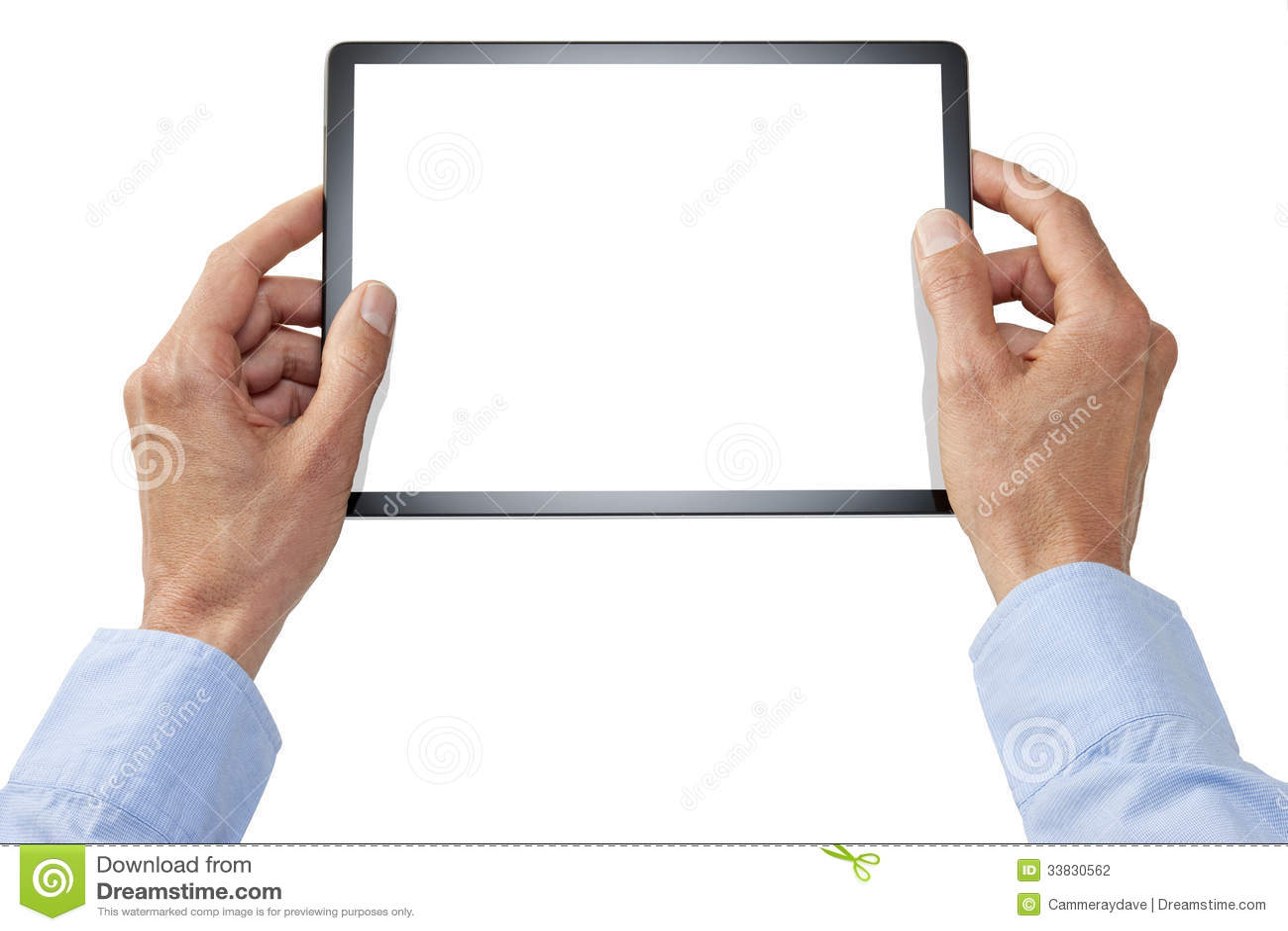 Mani della compressa del computer isolate