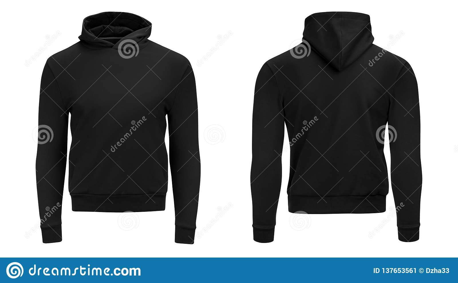 Manica lunga della maglietta felpata maschio nera di maglia con cappuccio dello spazio in bianco con il percorso di ritaglio, mod