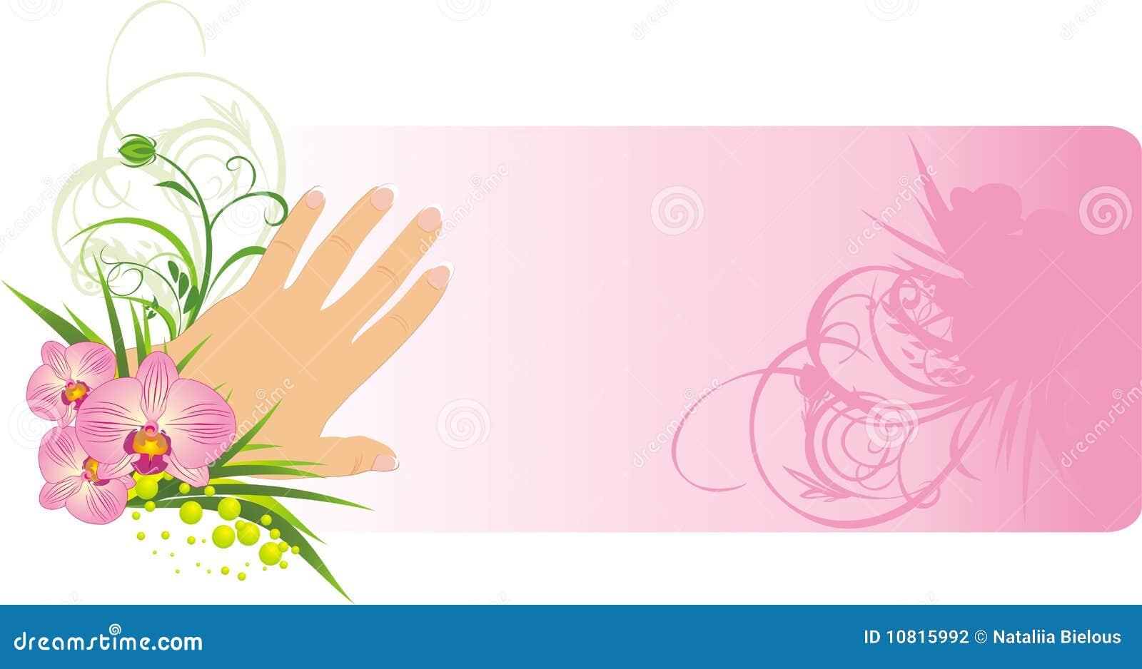 Manicura francesa y orquídeas hermosas. Fondo para la tarjeta. Vector ...