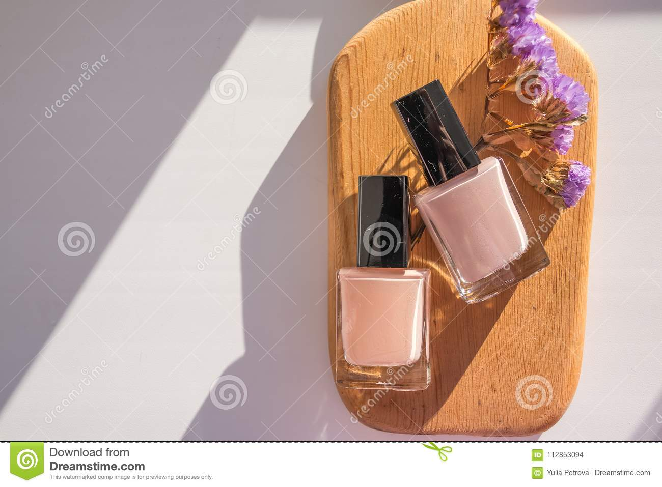 Manicure Beauty Treatment Photo Pastel Colors Set On Wooden Board
