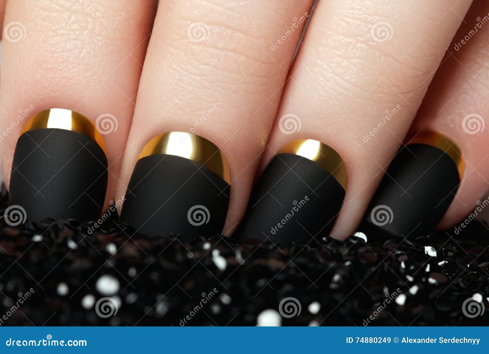 Manicure. Black Matte Nail Polish. Manicured Nail With Black Mat ...