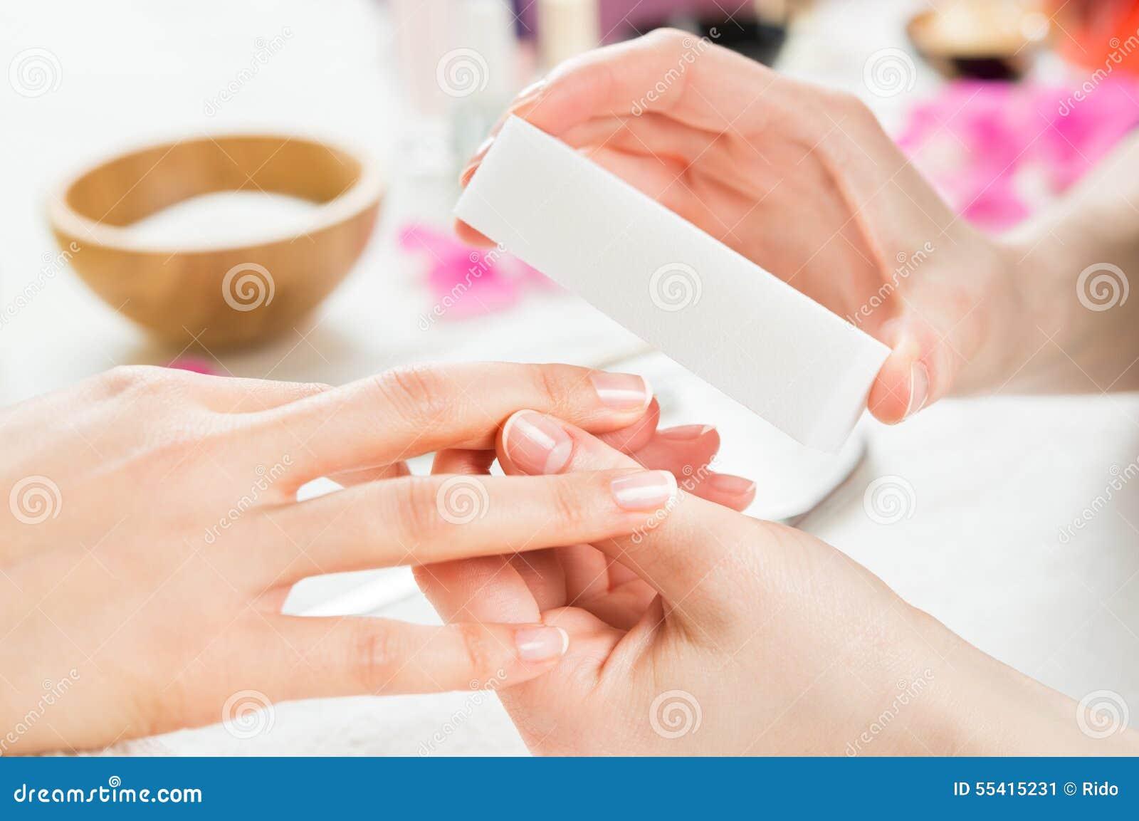 Manicure With Buffer At Nail Salon