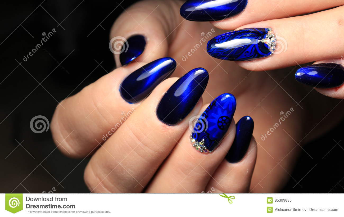 Manicure, Cat`s-eye And Blue Stained Glass Gel Polish With A Picture ...