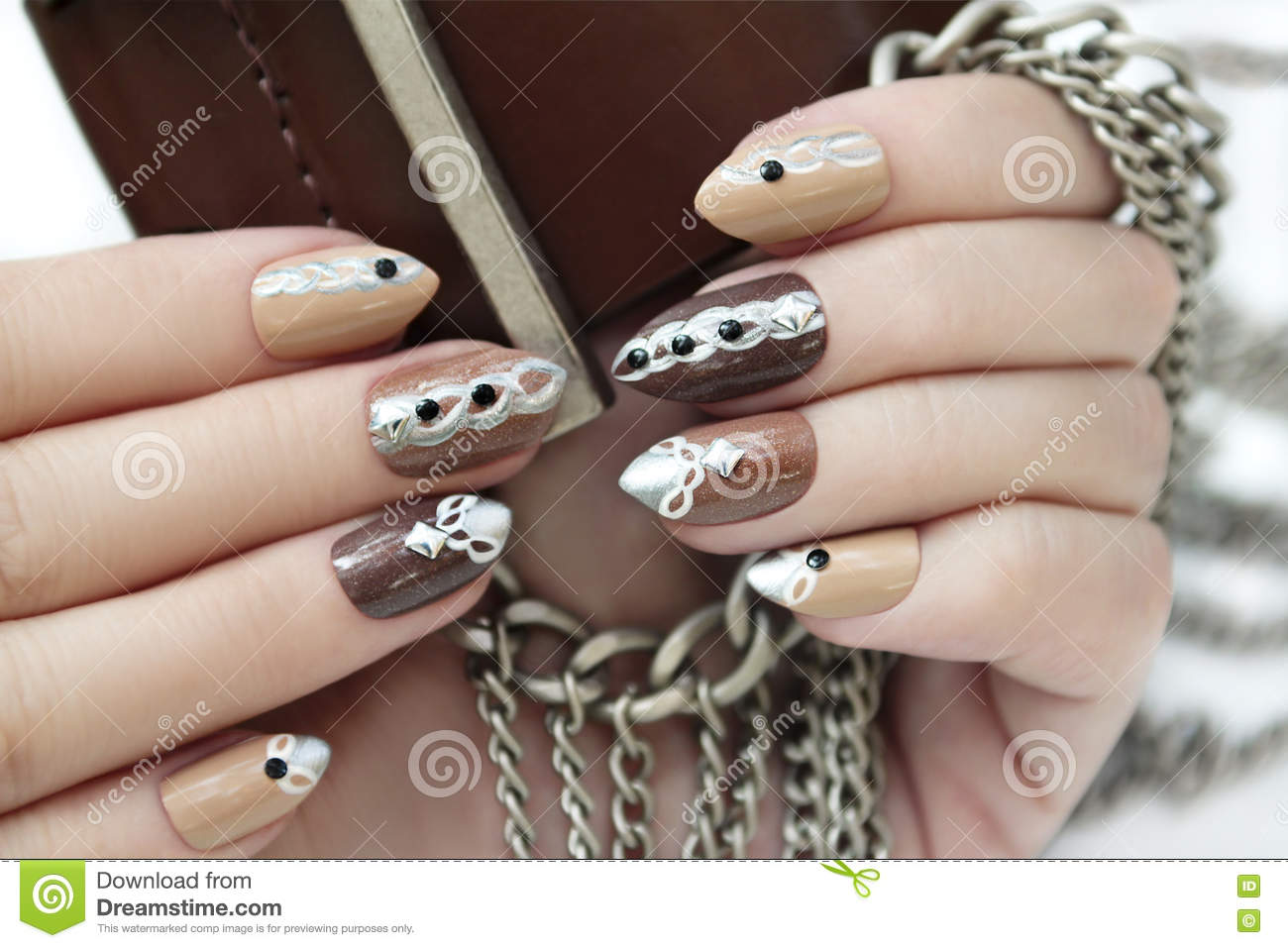 Manicure with chain. stock photo. Image of form, chains - 74698460