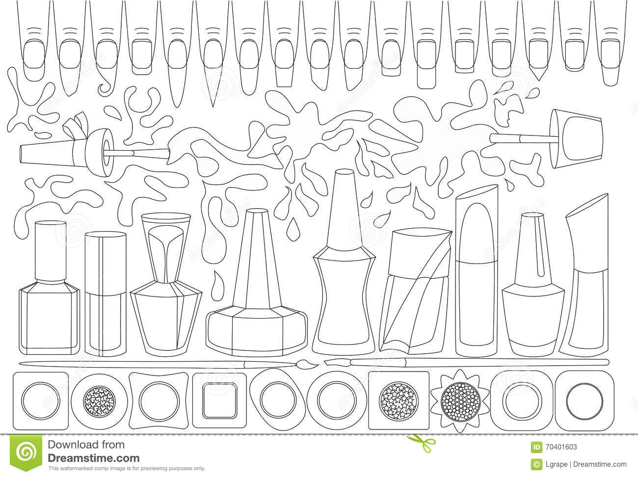 manicure  coloring book for adults  stock vector