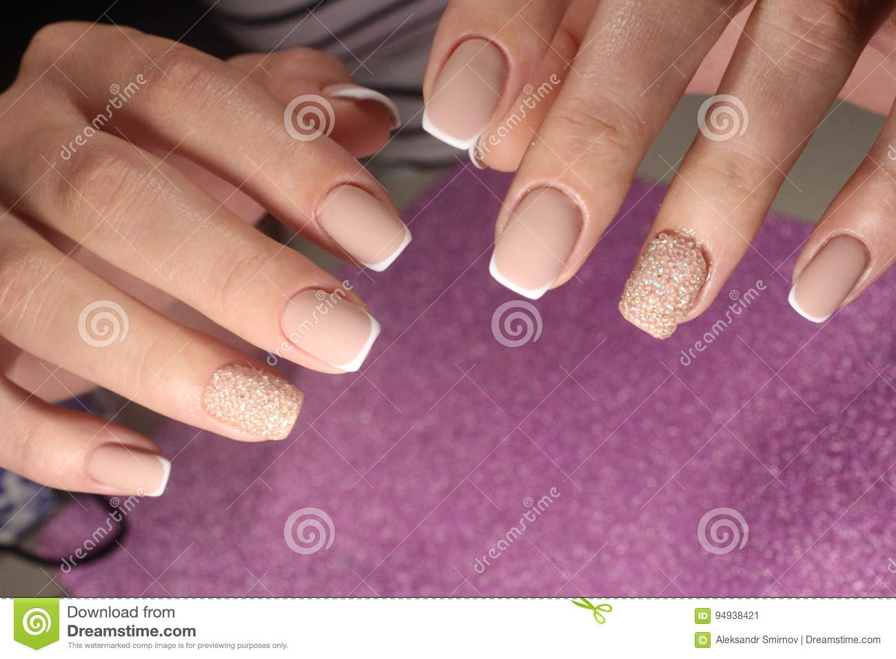 Manicure Design For The Bride French Stock Image Image Of Closeup