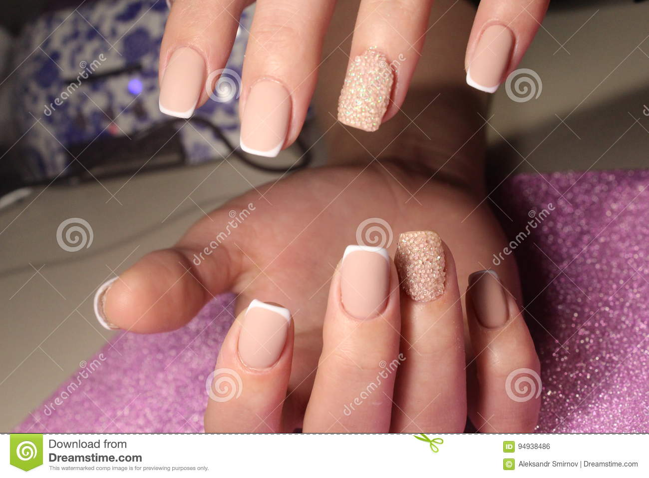 Manicure Design For The Bride French Stock Photo Image Of Girl