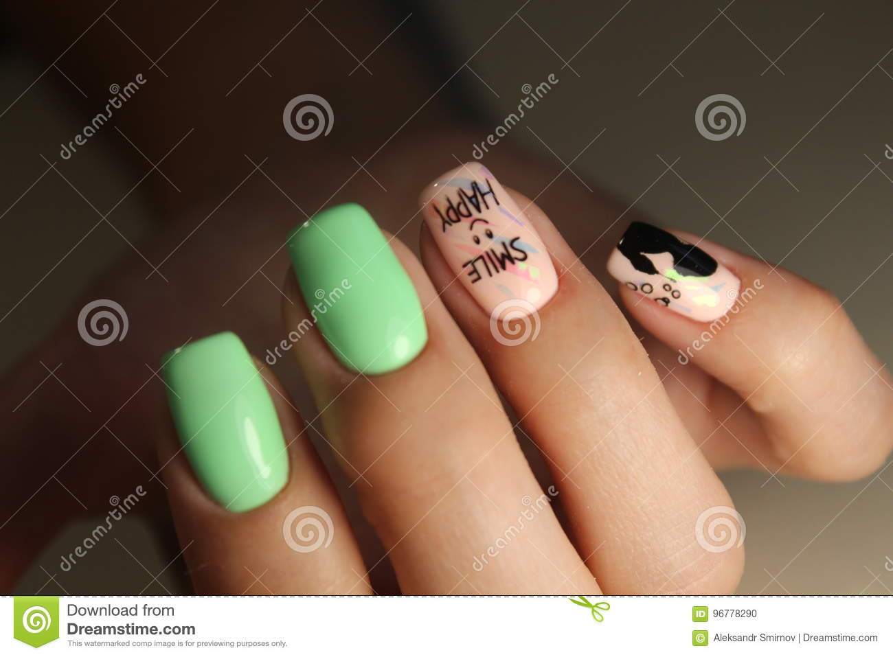 Manicure Design Fashion Drawing Stock Photo , Image of nail