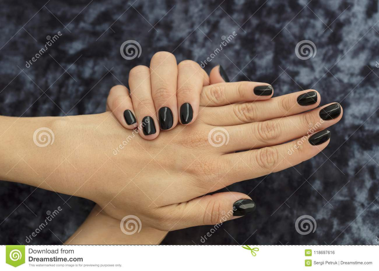 Manicure Design French Handsome Black With Glitter Stock Photo