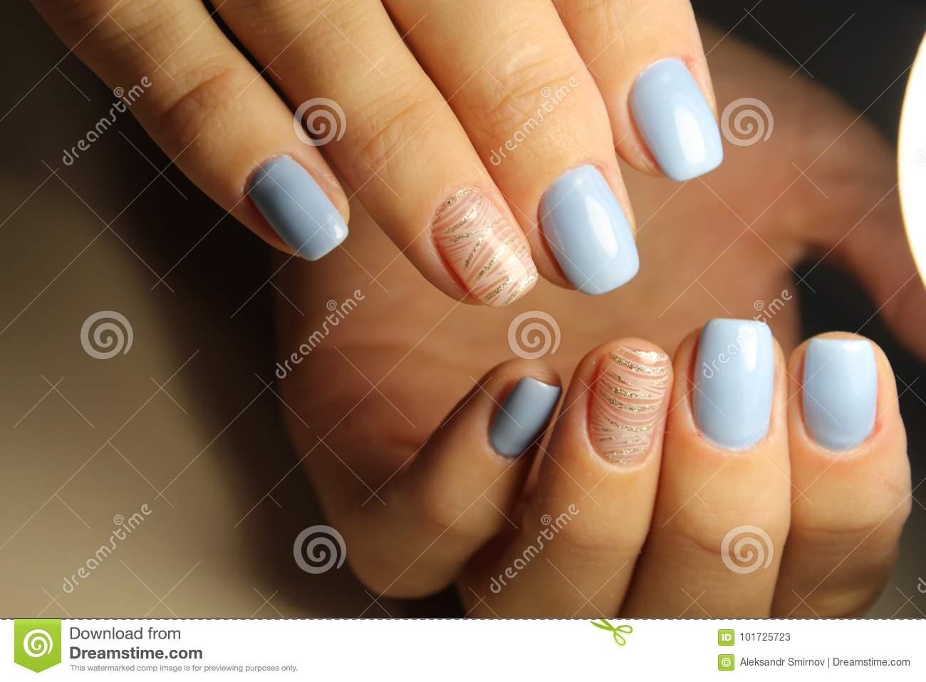 Manicure Design Lines Blue Nails Stock Image Image Of Blue