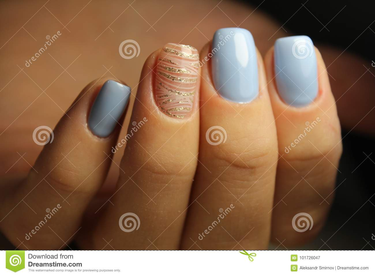 Manicure Design Lines, Blue Nails Stock Image - Image of green, arts ...