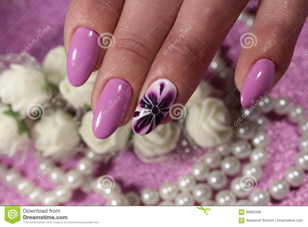 Manicure Design In Purple With A Pattern Of Lilies Stock Photo