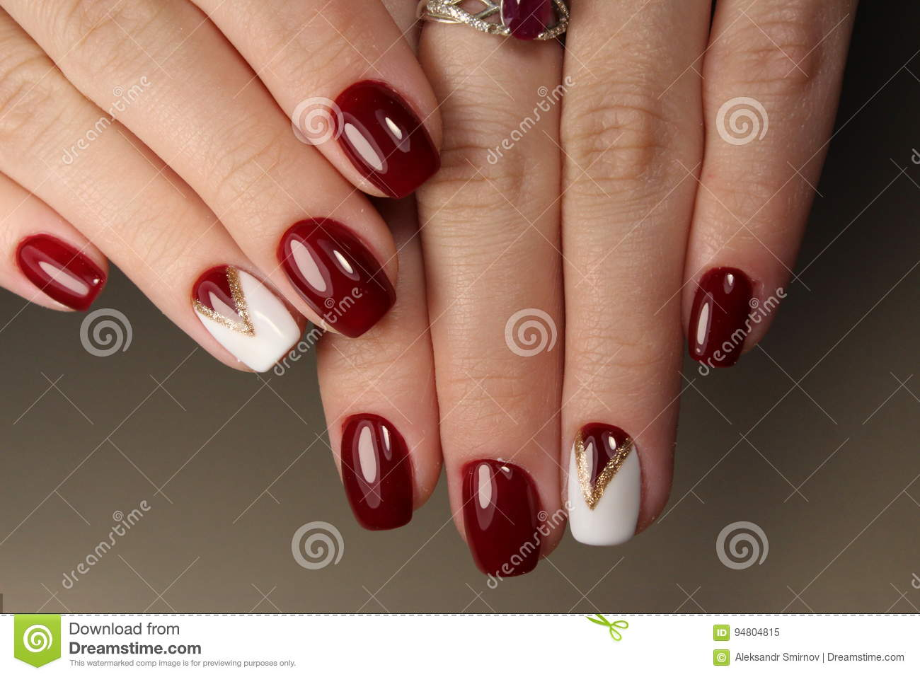 Manicure Design Red And White Geometry Stock Image Image Of