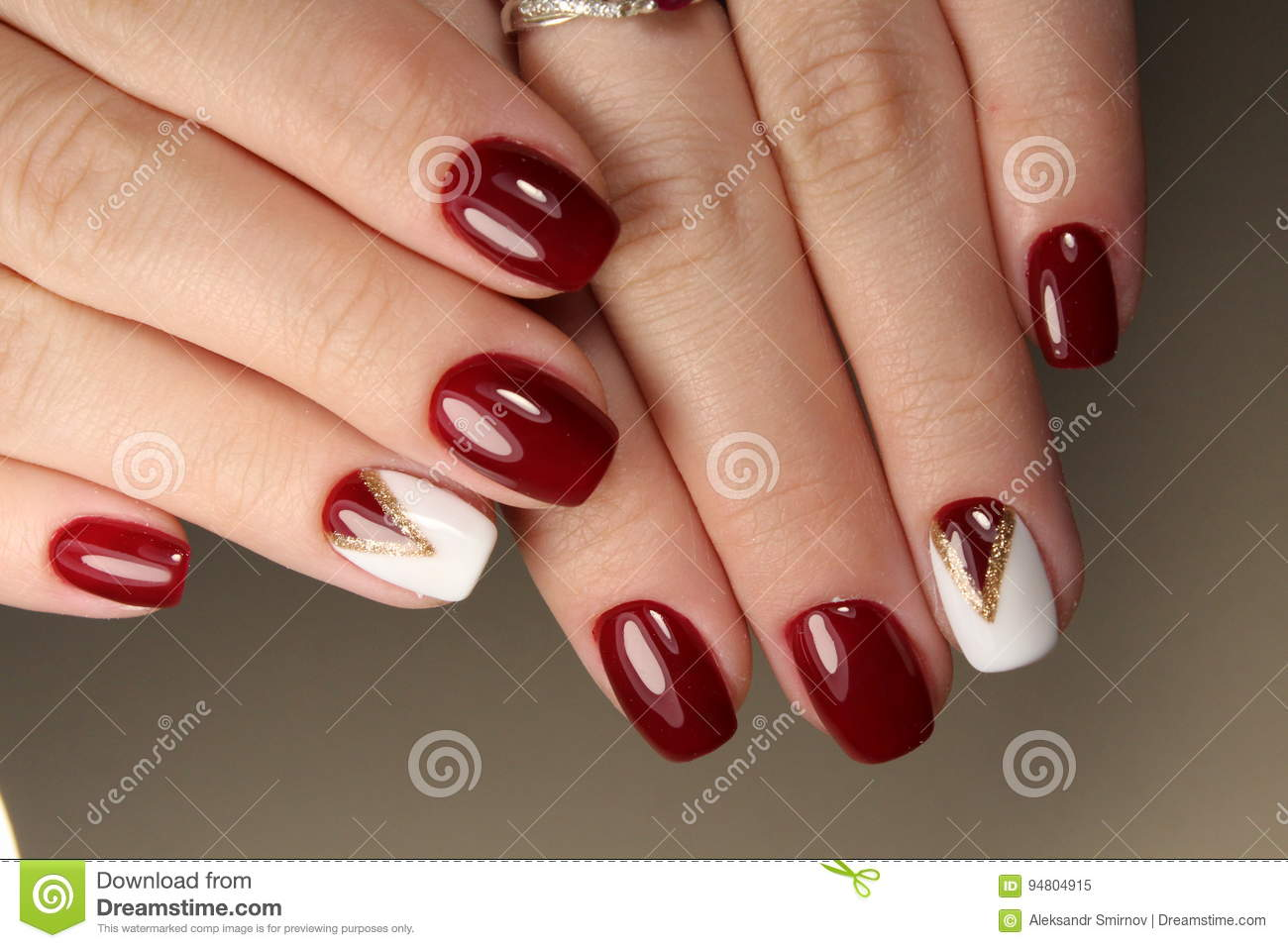 Manicure Design Red And White Stock Image - Image of nails, hands ...