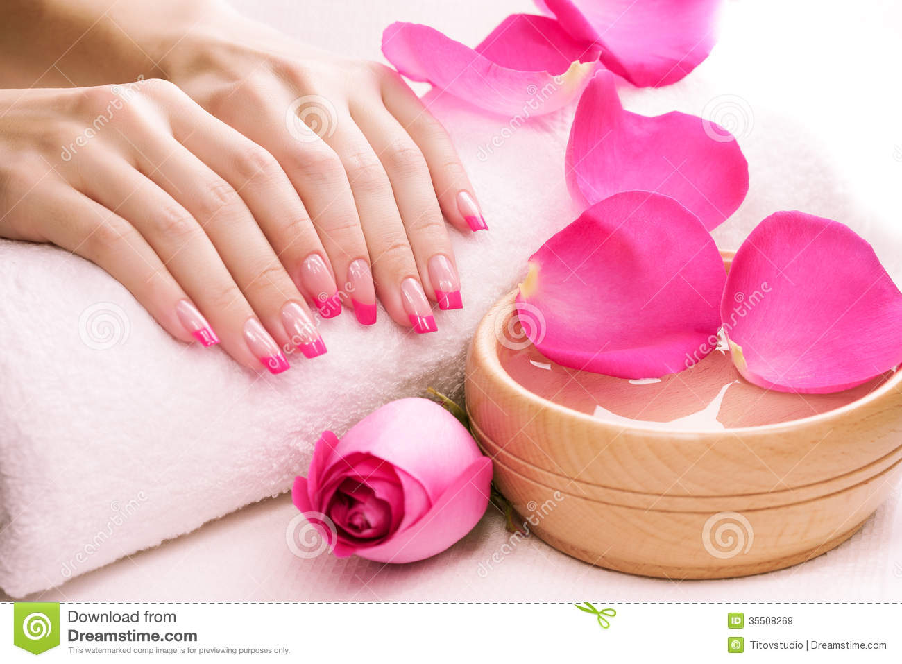 Manicure With Fragrant Rose Petals And Towel Spa Royalty