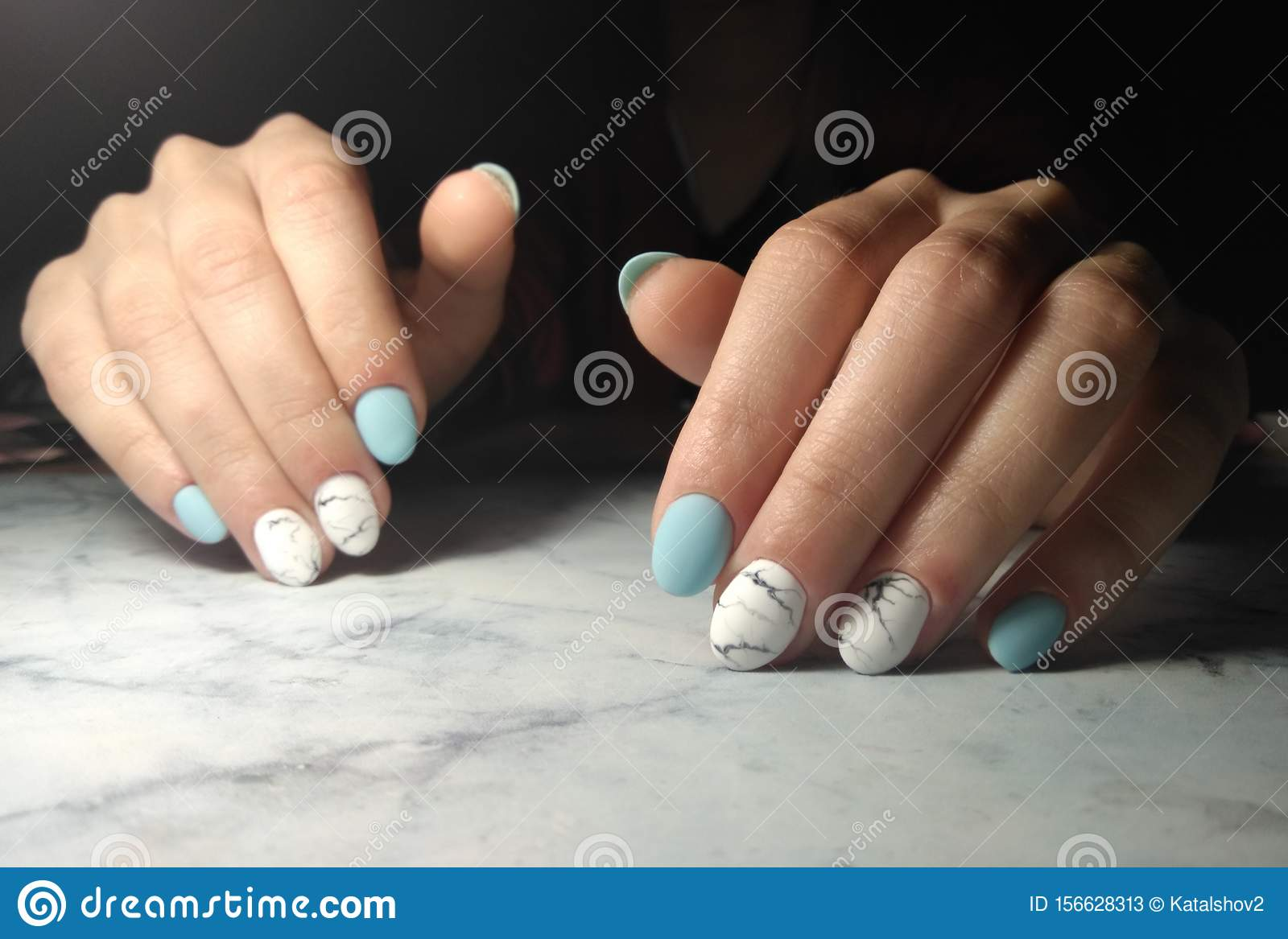 Manicure With Glossy Blue Solid Coating And Marble Design Stock Image Image Of Brown Businesswoman 156628313