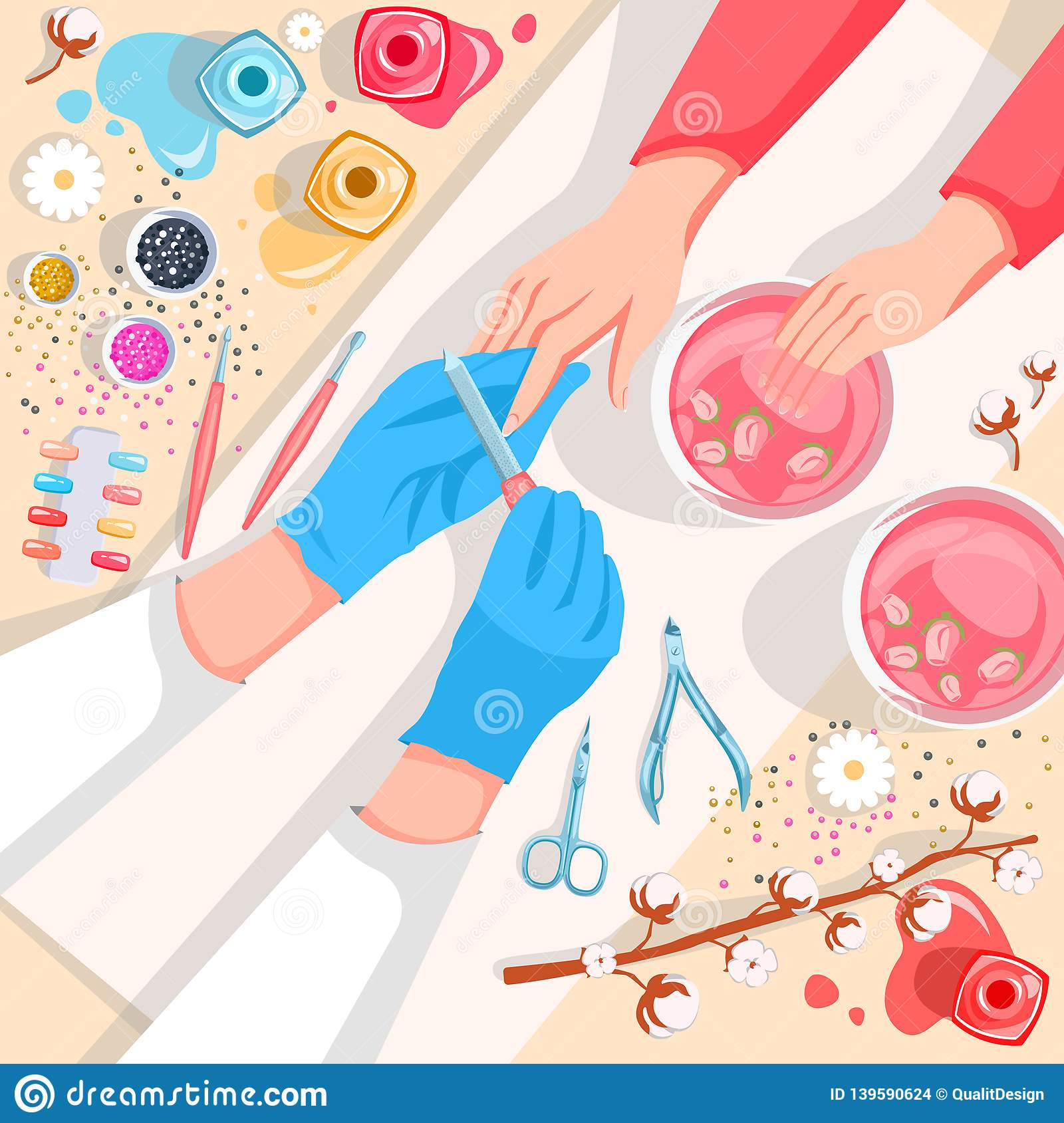Manicure, hands and nails care top view illustration. Beauty salon and spa procedure concept