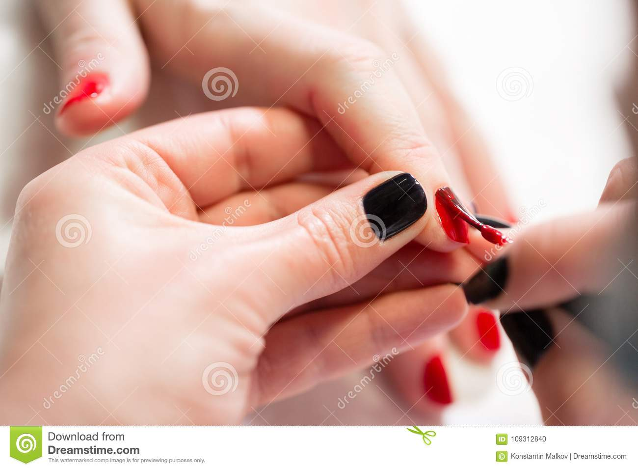 Manicure. Master Applies Varnish Drawing On Nails Gel In Spa ...