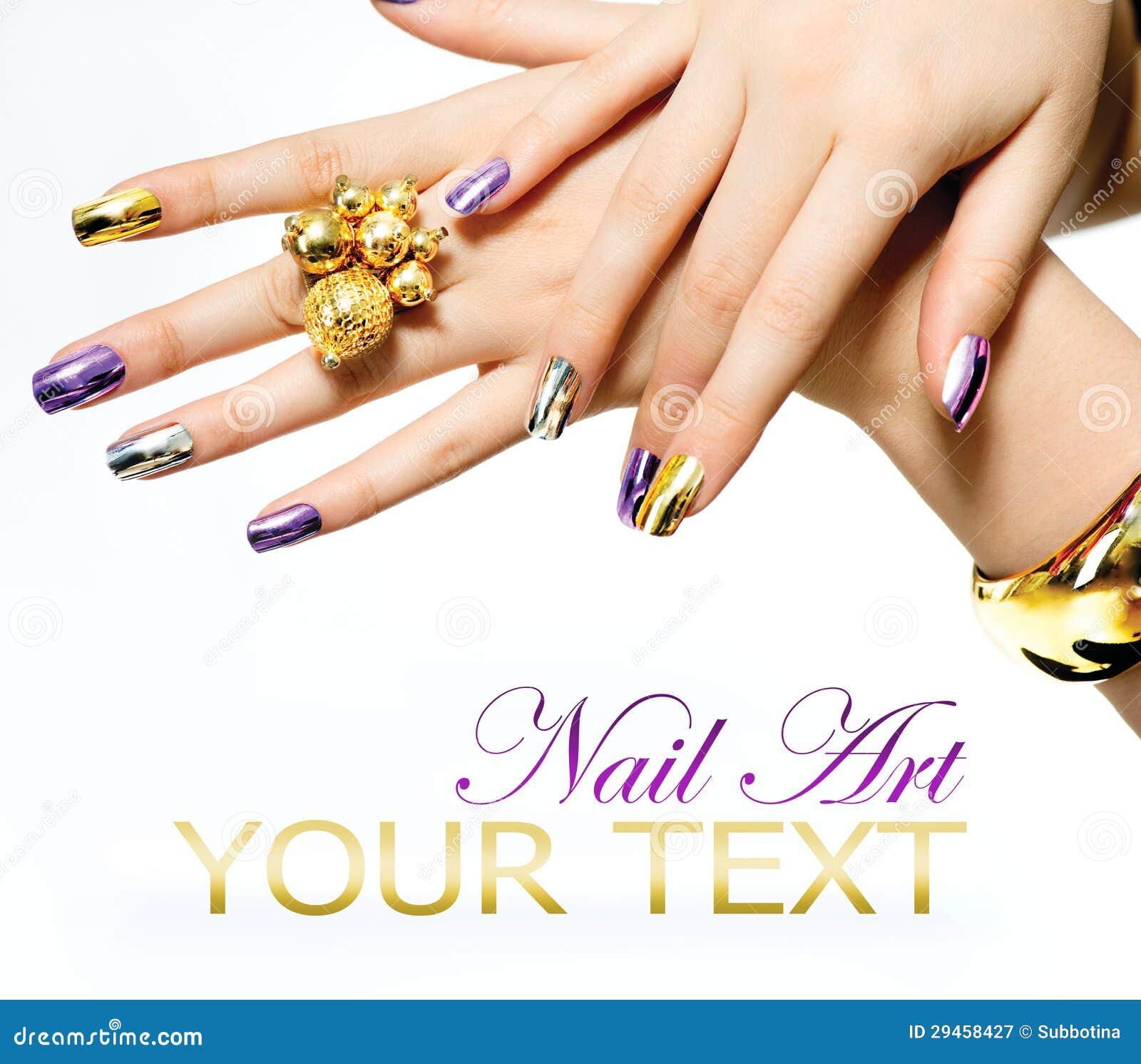 Nail Art Trend Luxury Nail Polish Nail Stickers Stock: Manicure. Metallic Nail Polish Royalty Free Stock