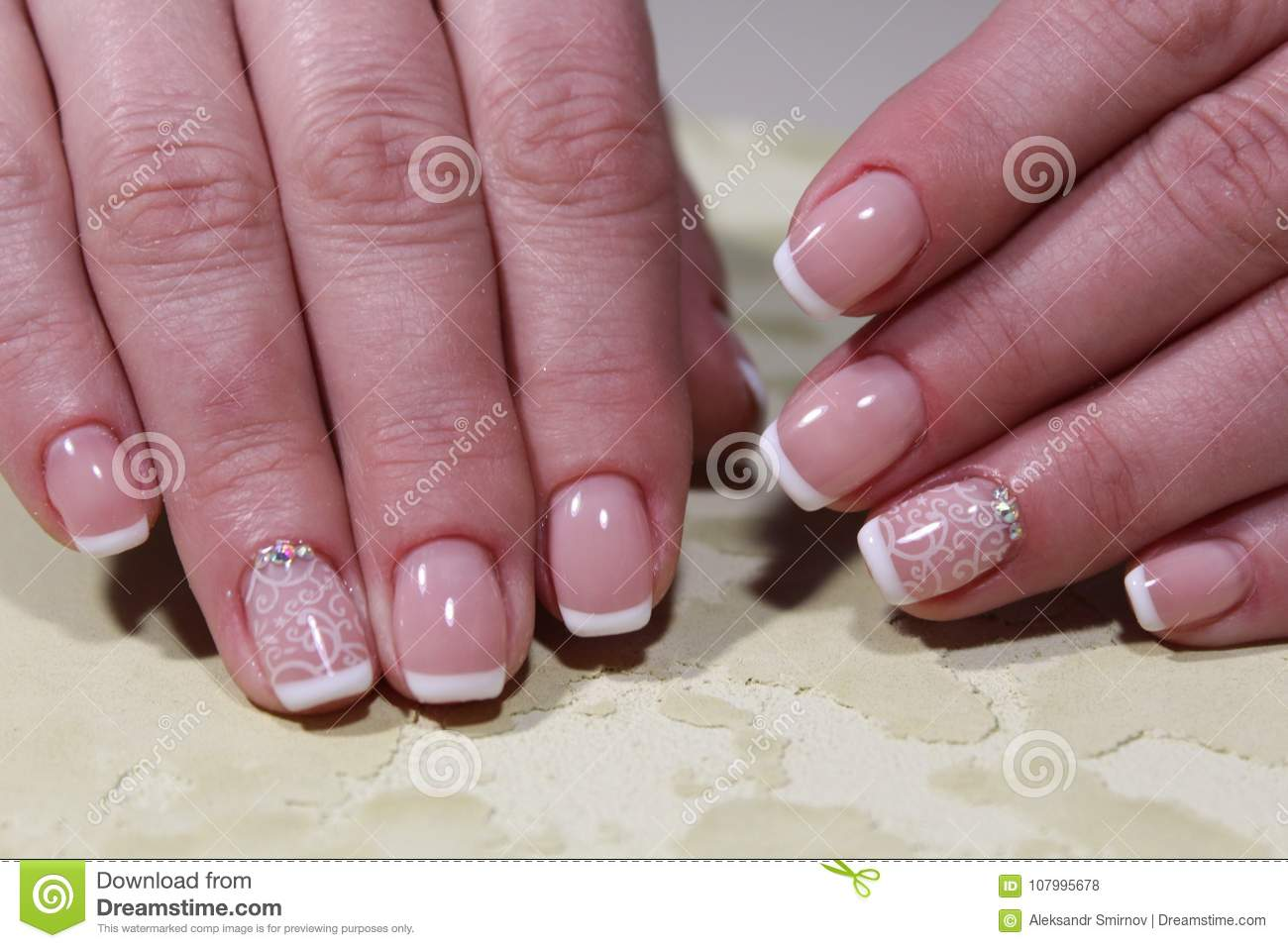 White French Manicure Design Stock Photo Image Of Pink Flower