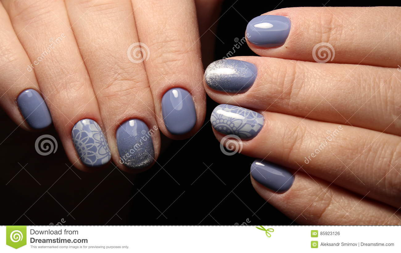 Manicure Nail Design Blue With Lace And Sequins Gradient Stock Photo
