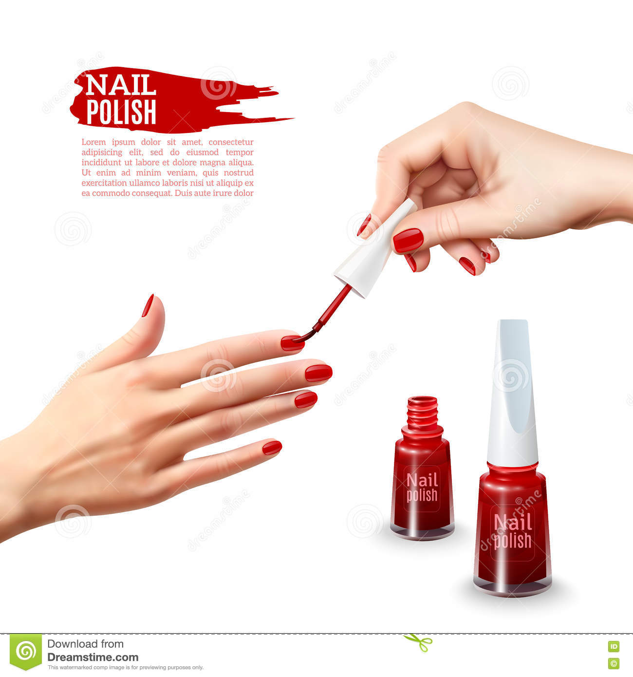 Free Manicure Beauty Hands Makeover: Manicure Nail Polish Hands Realistic Poster Stock Vector