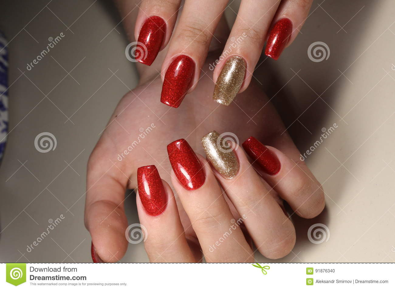 Manicure Nails Red And Gold Stock Photo - Image of nail, manicure ...