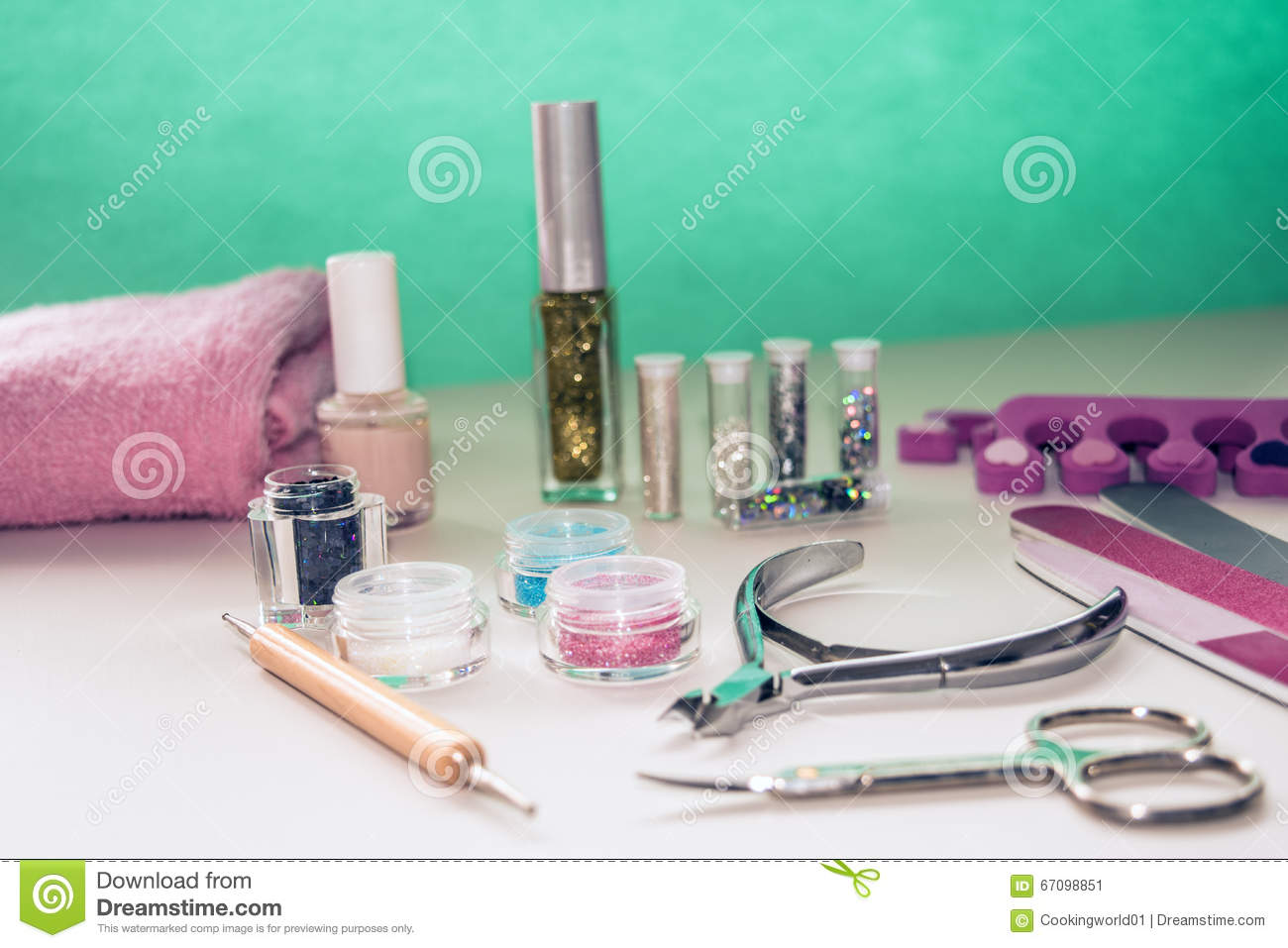 Manicure And Pedicure Tools For Nail Art Glitter Stock Image