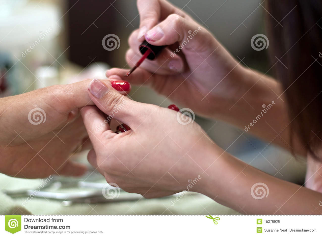 Manicure With Red Fingernail Polish Royalty Free Stock ...