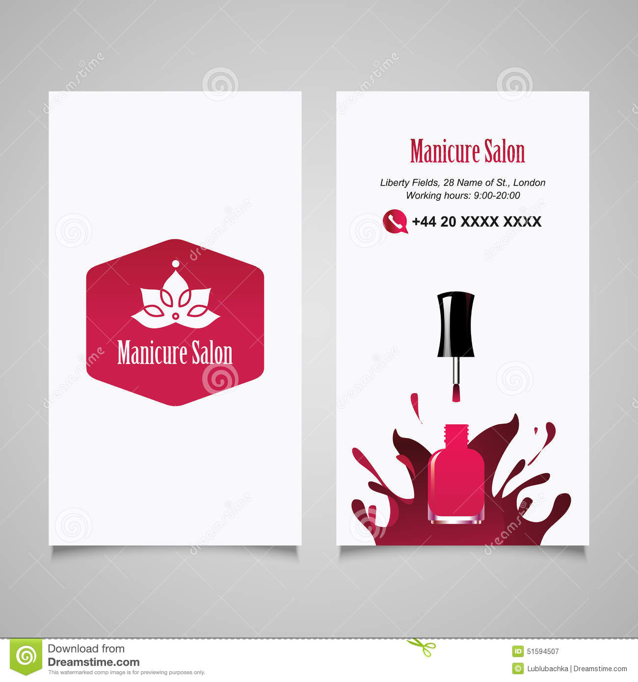 manicure salon business card vector design templates set