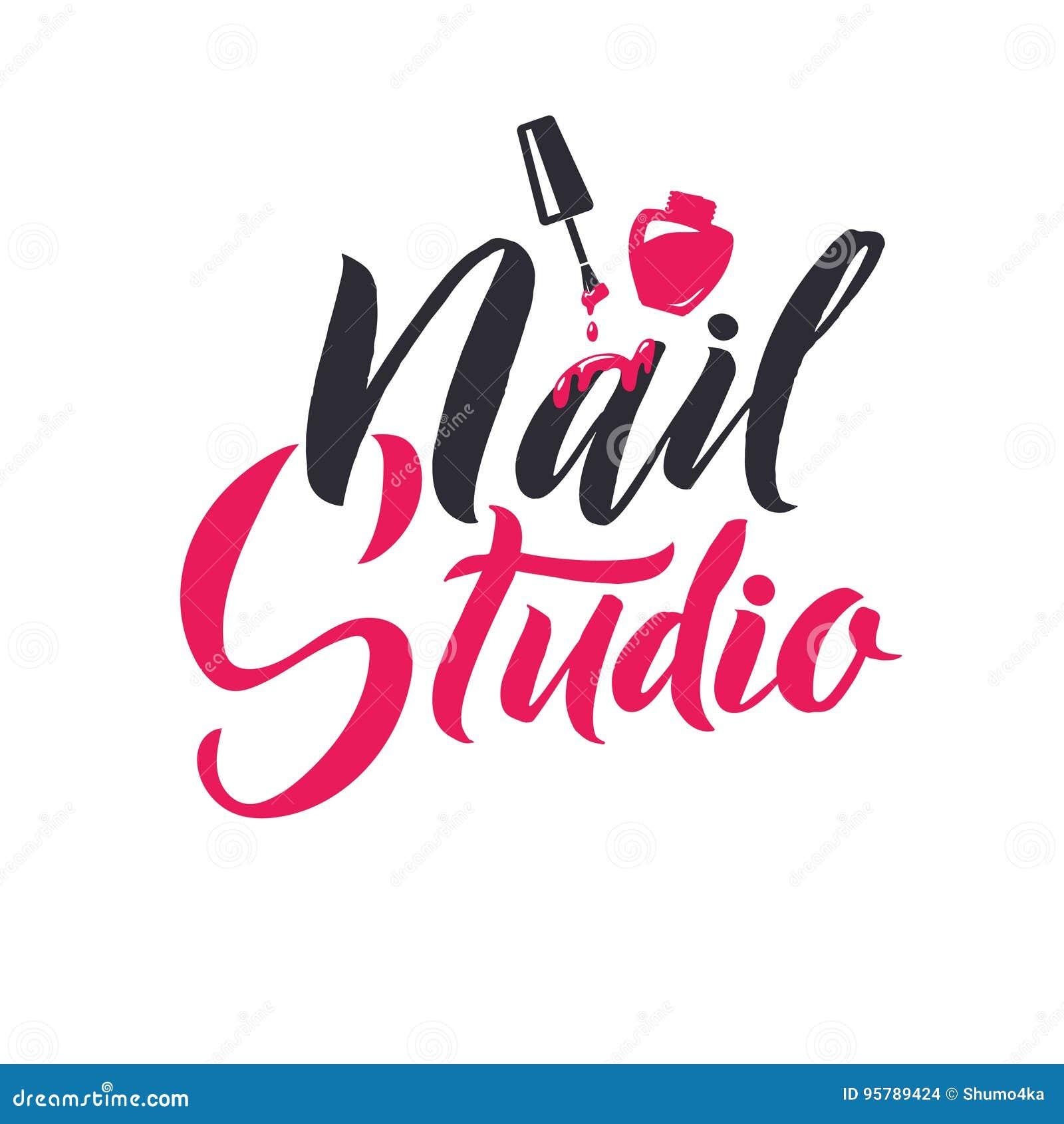 Nail Polish Logo Vector Hession Hairdressing