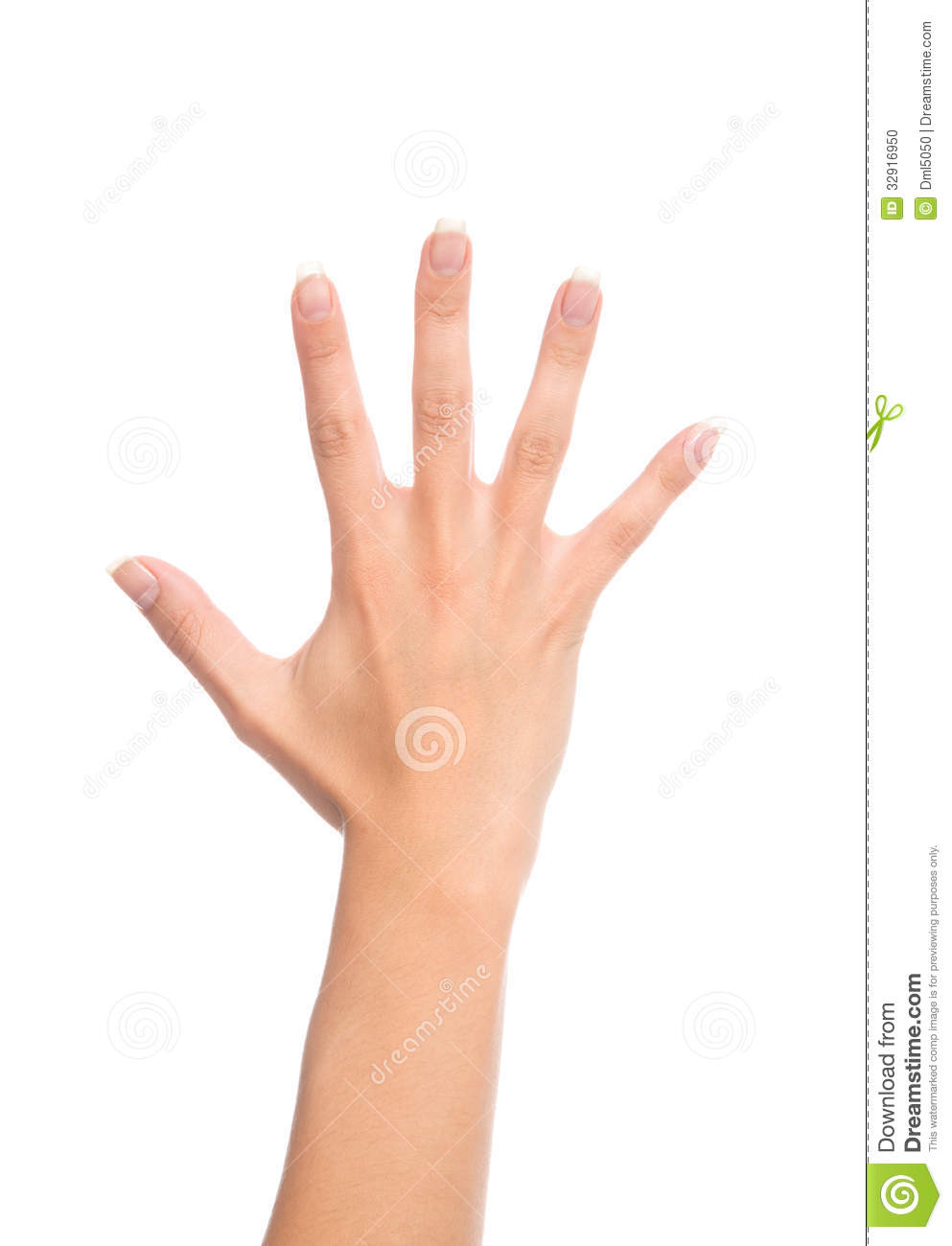 Manicured female open hand gesture number five fingers up for 33 fingers salon