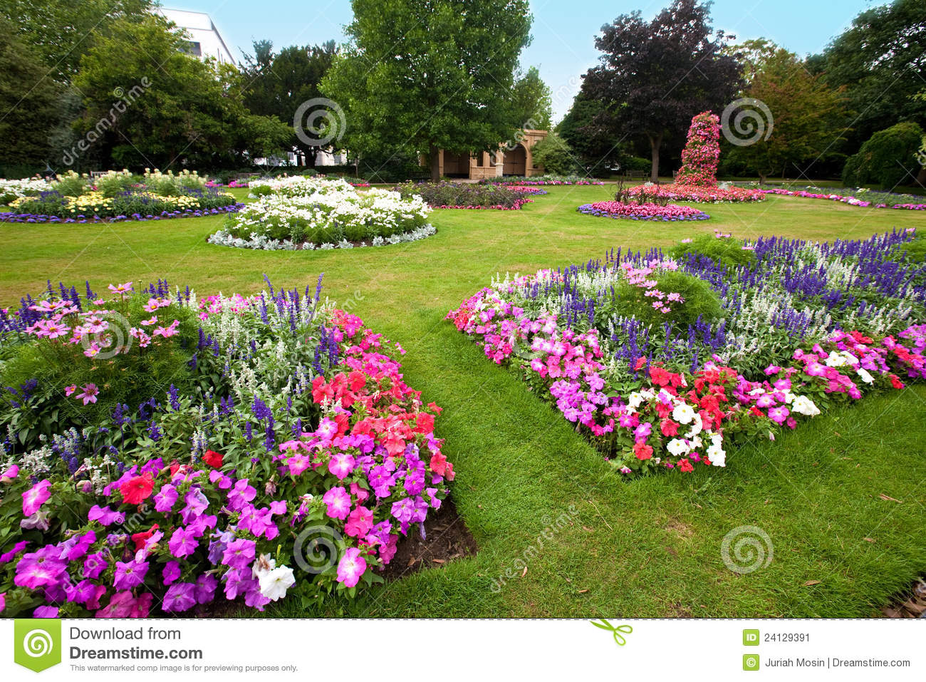 Manicured Flower Garden With Colorful Azaleas. Stock Image ...