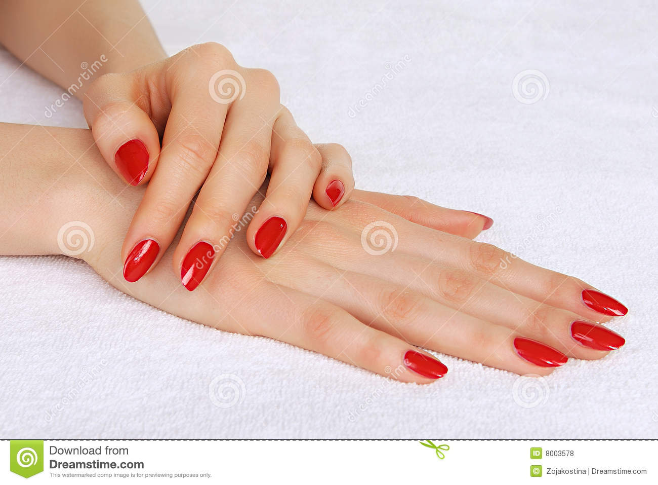 Red manicured woman hands | Stock Photo | Colourbox