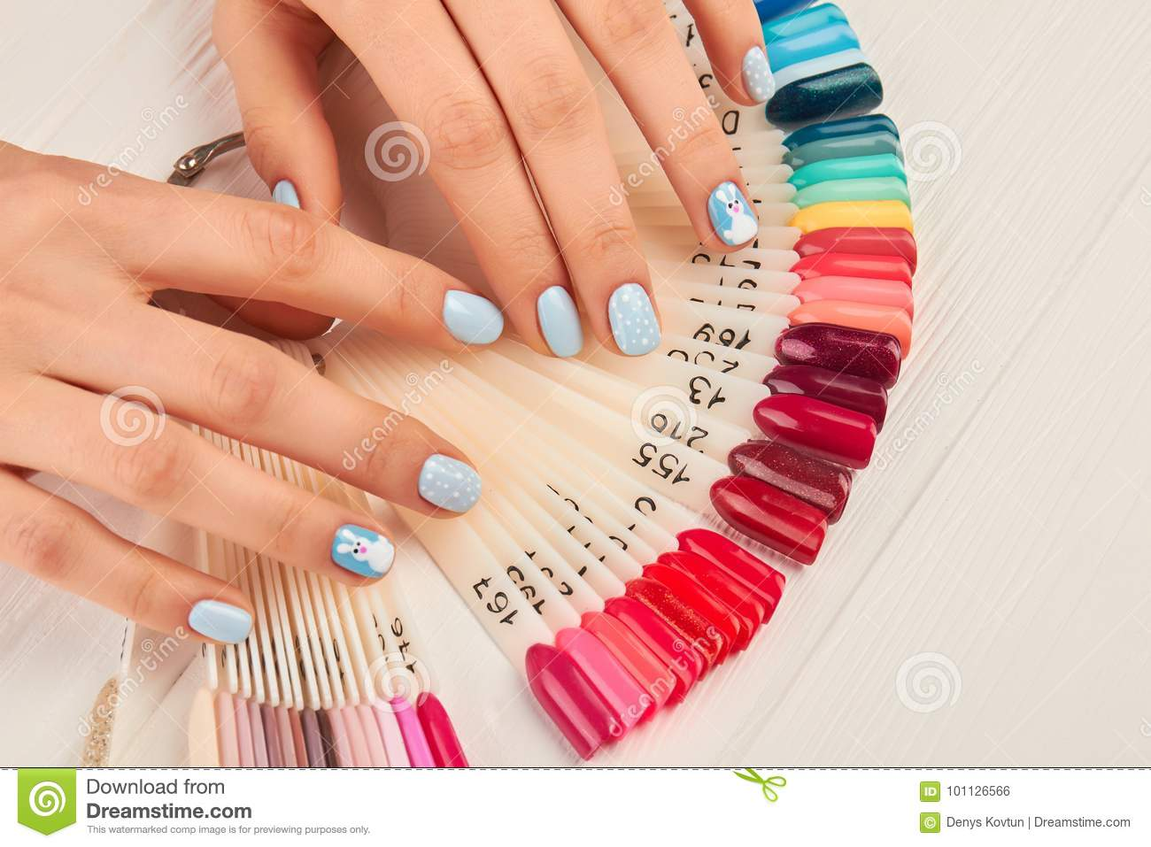 Manicured Hands And Collection Of Nail Samples. Stock Photo - Image ...