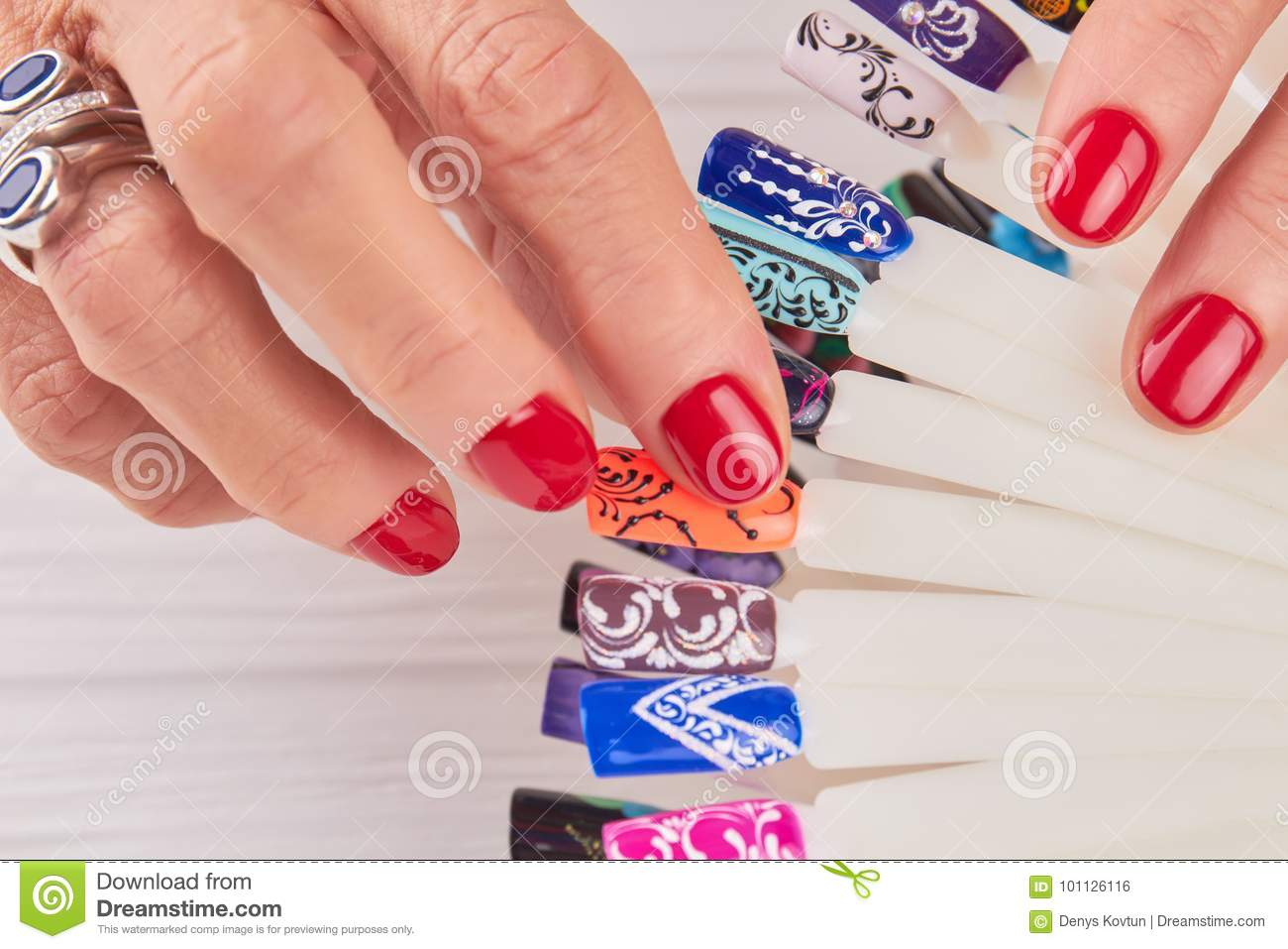Manicured Hands Nail Art Samples Close Up Stock Photo Image Of