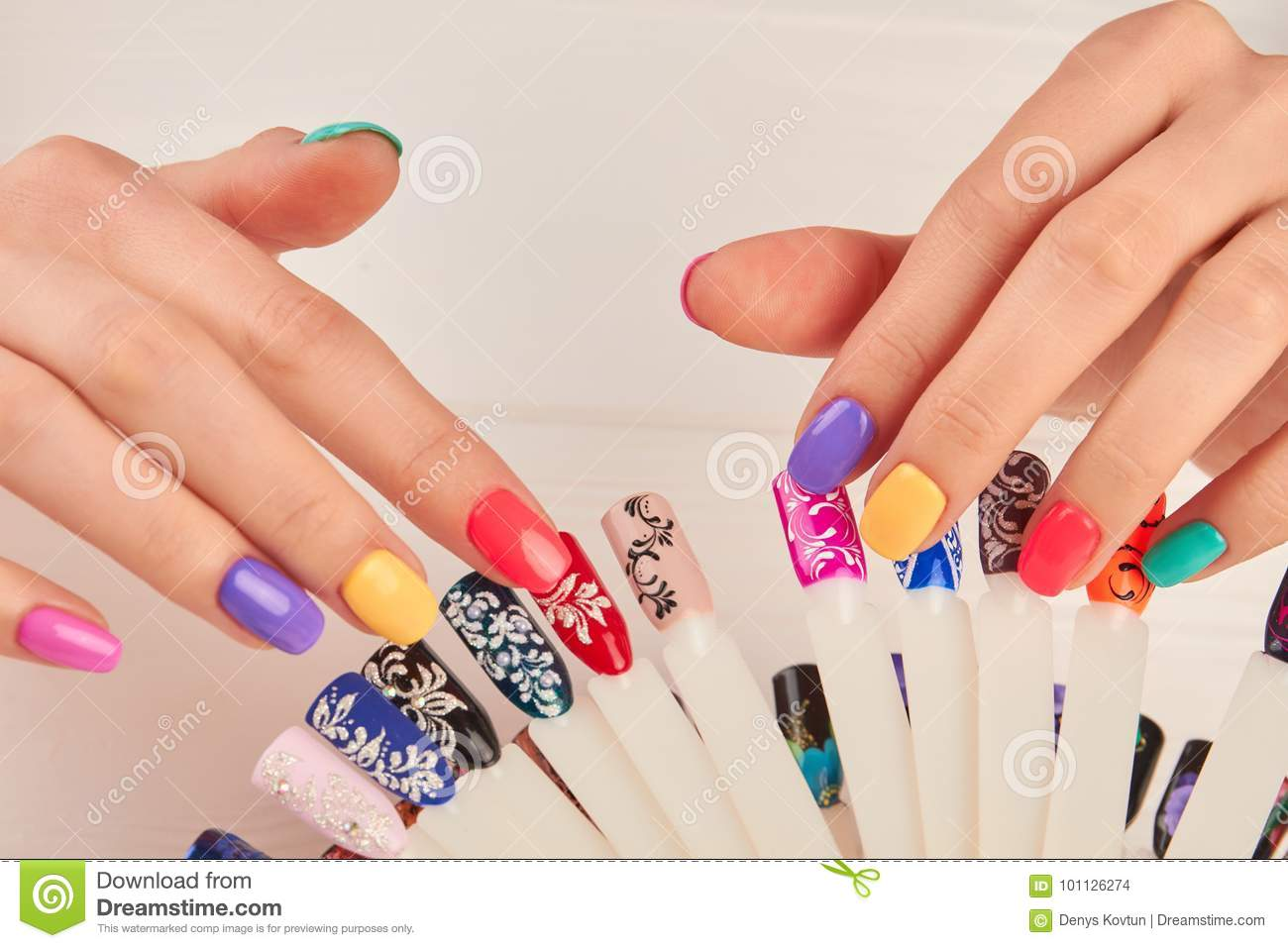 Manicured Hands And Polish Color Samples. Stock Photo - Image of ...