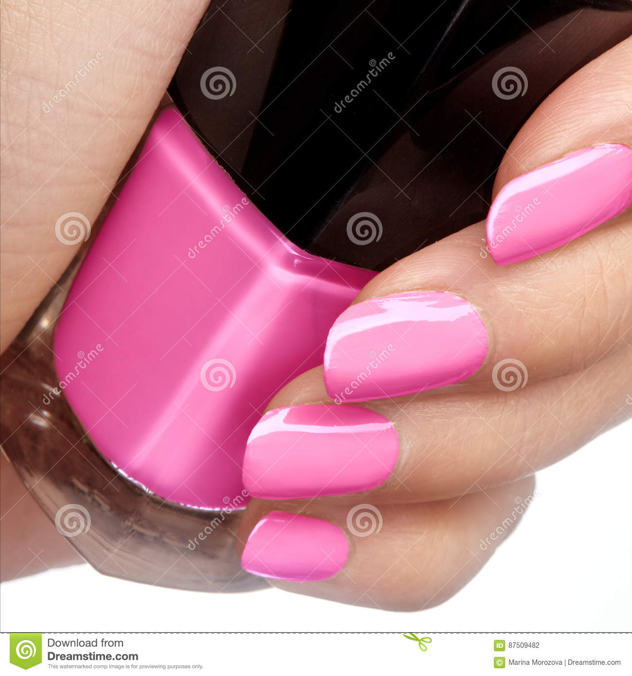 Manicured Nails With Bright Nail Polish. Manicure With Pink ...