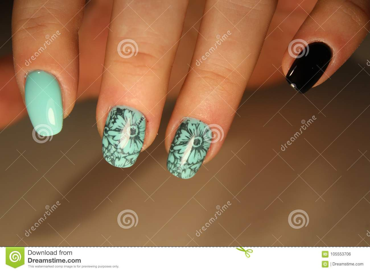 Manicured Nails Nail Polish Art Design Stock Photo Image Of