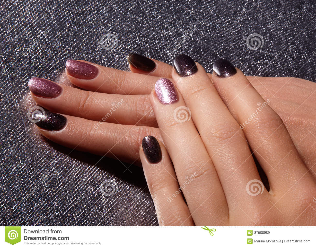 Bright Pink And Black Nail Polish Wit Sparkles Manicured Nails With Shiny Manicure Gel Nailpolish Fashion Art